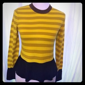 NWT Orla Kiely Multi Striped Peplum Sweater